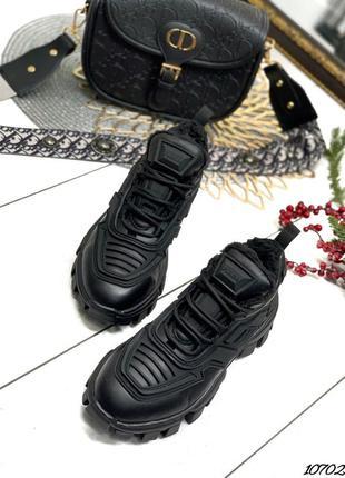 Зимние чёрные женские зимние кроссовки