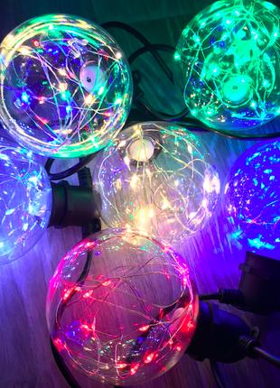 Светодиодная лампа шар G95 Эдисона, пластик