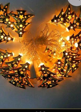 Золотая гирлянда Ёлочки 20 Led, жёлтое свечение