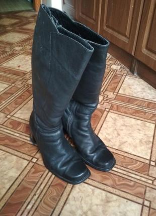Кожаные сапоги на каблуку