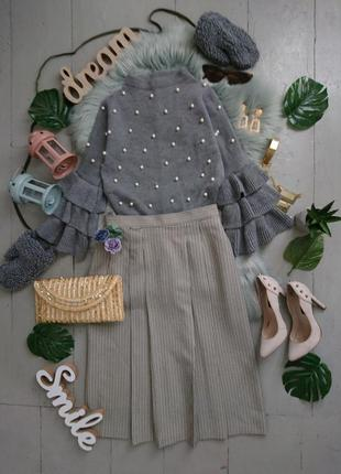 Актуальная винтажная юбка миди в гусиную лапку  №1