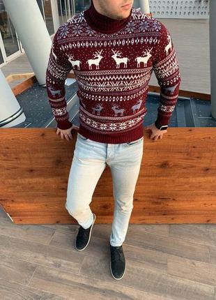Мужской свитер шерсть с оленями