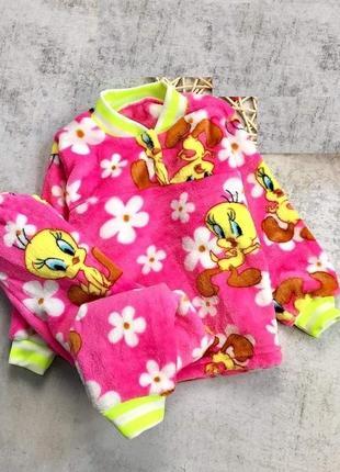 Махровая теплая пижама для девочек