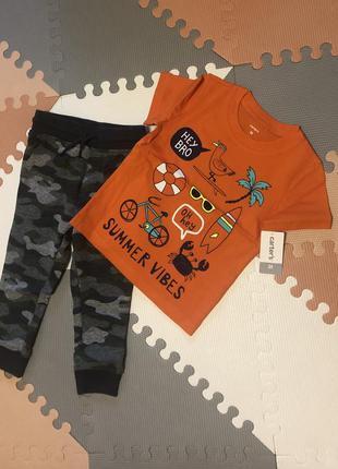 Комплект на мальчика штаны спортивные oshkosh футболка carter's