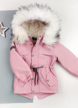 Зимняя парка на меху для девочек