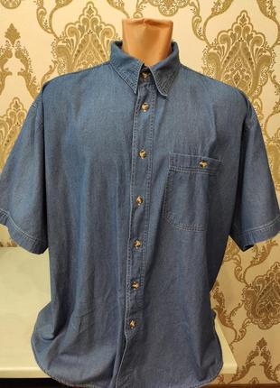 Enrico mori мужская джинсовая рубашка с коротким рукавом