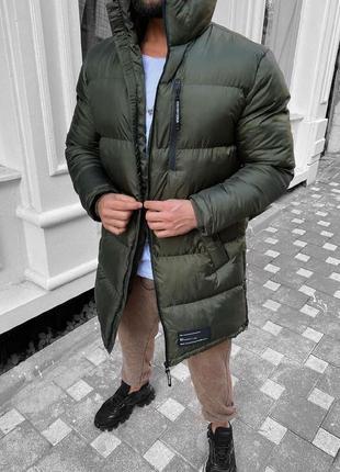 Мужская очень теплая зимняя удлиненная куртка цвета хаки