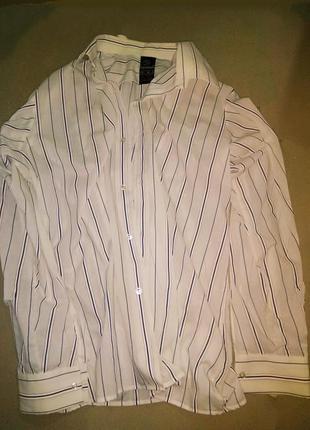 Рубашка с длинным рукавом в полоску.