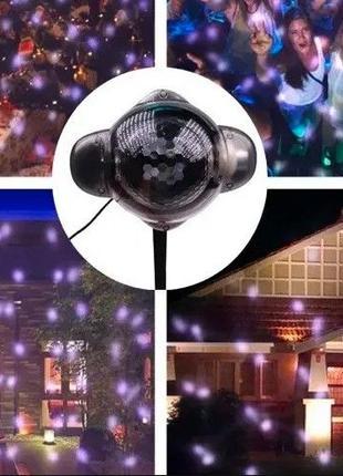 Новогодний LED Лазерный проектор снег- снежинки RGB до 200 кв\м