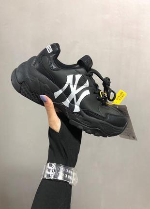New york yankees x black женские кожаные кроссовки