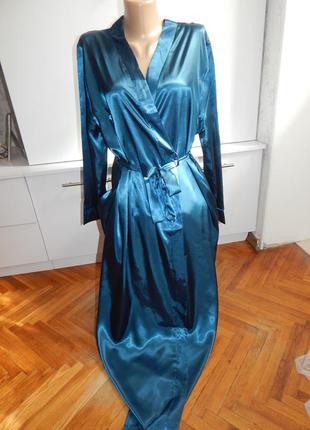 Indigo халат атласный с кружевом домашний uk14/16 eur 42/44 дл...