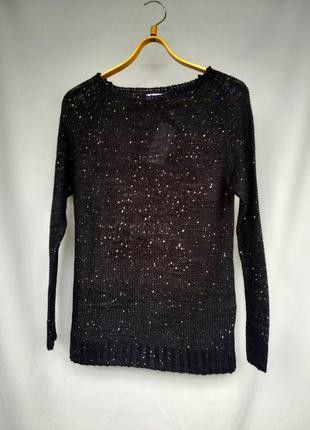 Нарядная черная кафта женский свитер джемпер оверсайз с мерцаю...