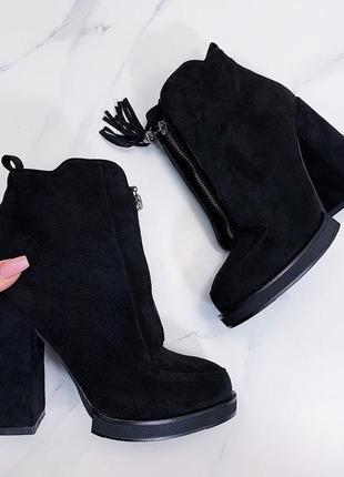 Чёрные зимние ботильоны на каблуке, чёрные замшевые ботинки с ...