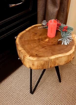 Кофейный, прикроватны, журнальный столик Лофт из среза дерева