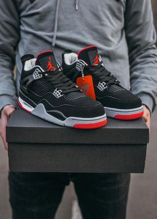 Nike air jordan retro 4  bred черные кожаные мужские кроссовки...
