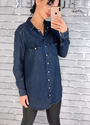Джинсовая рубашка удлиненная