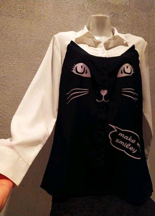 """""""Oodji"""" Блуза/рубашка. Кошка/Кошечка."""