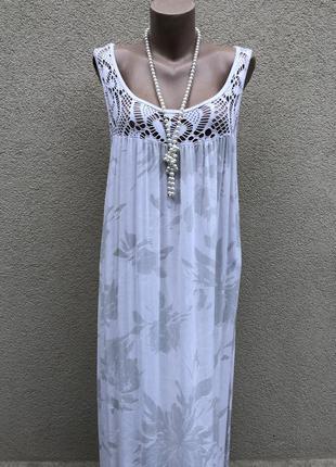 Легкий штапельный сарафан,платье с кружевом,этно бохо стиль