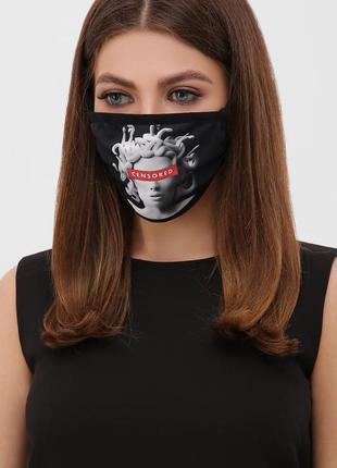 Маска черная с оригинальным принтом защитная для лица