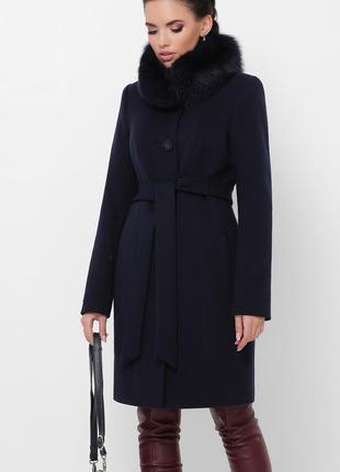 Синее пальто с мехом женское зимнее теплое