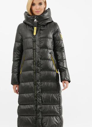 Куртка женская черная длинная с капюшоном (зима)