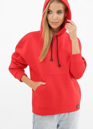 Красный женский свитшот с капюшоном теплый (тринитка с начесом)