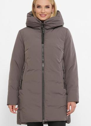 Куртка женская теплая серая (зима/больших размеров- 58,52,56)