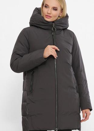 Куртка темно серая женская теплая с капюшоном