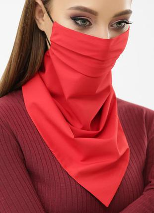 Маска платок на лицо защитная красная