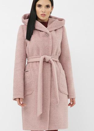 Пальто пудра с капюшоном теплое шерстяное