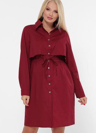Бордовое стильное платье для полных женщин