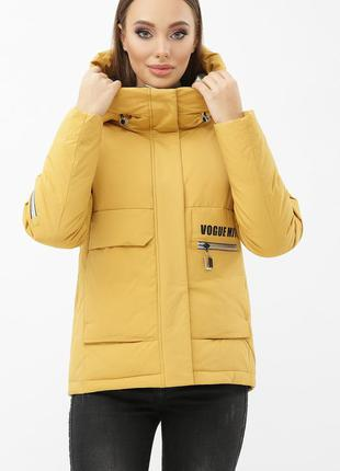 Куртка женская зимняя желтая - цвета горчицы