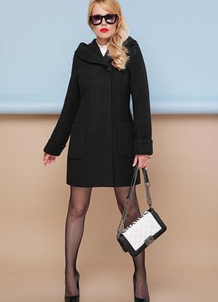 Пальто женское черное с капюшоном до колена (полупальто)