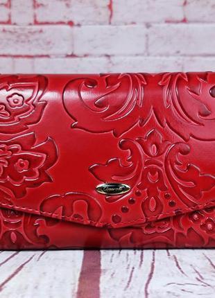 Красный женский кошелек сossroll. красивое портмоне кожа лак. ...