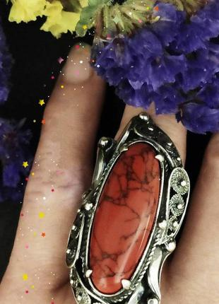 Серебряное кольцо, 925, серебро, коралл, чернение