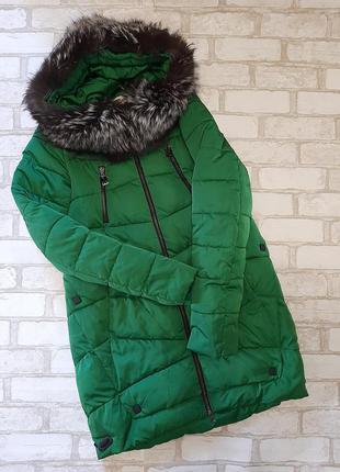 Зимняя куртка,пуховик ,натуральный мех