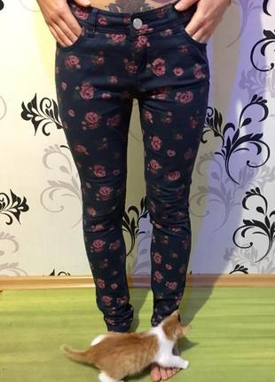 Крутые штаны, брюки, джинсы в цветочек, скинни, в розы