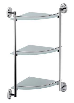 Стеклянная полочка для ванной комнаты 3-х ярусная угловая Lidz (C