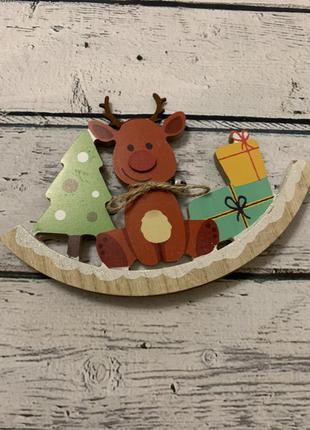 Статуэтка деревянная новогодняя декор нидерланды олень