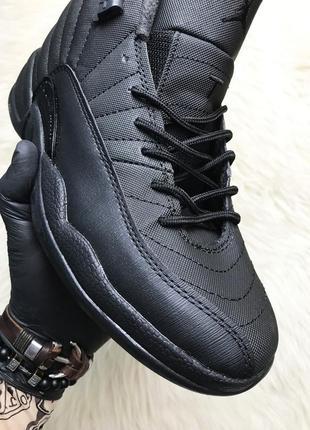 Nike air jordan 12 retro black. чёрные кожаные мужские кроссов...