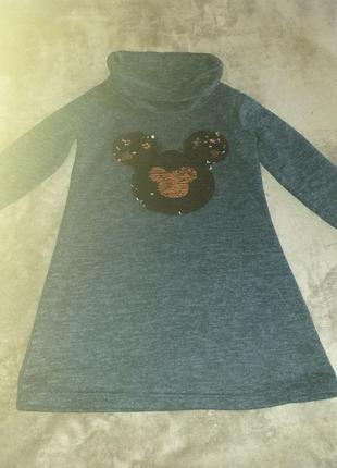 Симпатичное платье-туника на девочку 7-9лет