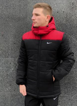 """Зимняя куртка """"европейка"""" красно-черная"""