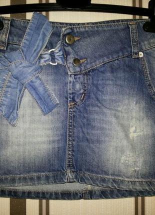 Стильная джинсовая мини юбка италия