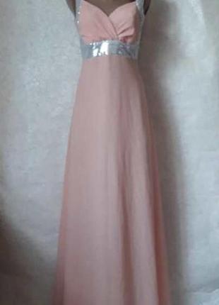 Красивое нарядное платье в пол в нежно персиковом цвете, разме...