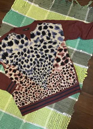 Кофта свитшот бордовый леопард