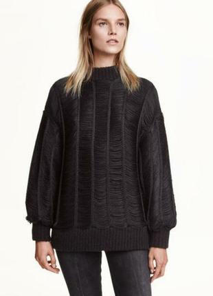 Шерстяний светр h&m лімітована колекція з бахромою з об'ємними...