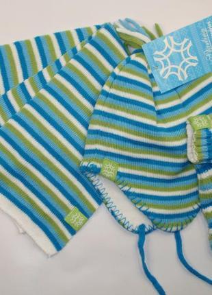 Комплект на флисе шапка шарф варежки набор зимний для мальчика