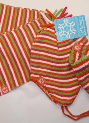 Комплект на флисе шапка шарф варежки набор зимний для девочки
