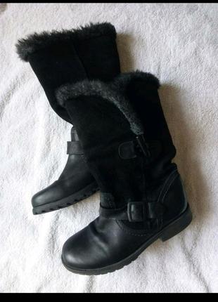 Тёплые осень/зима сапоги (евро зимние )насыщенного чёрного тона