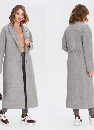 Шикарное женское длинное демисезонное пальто макси с камнями н...